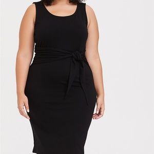 Torrid Black Jersey Tie Front Shift Dress Size 1
